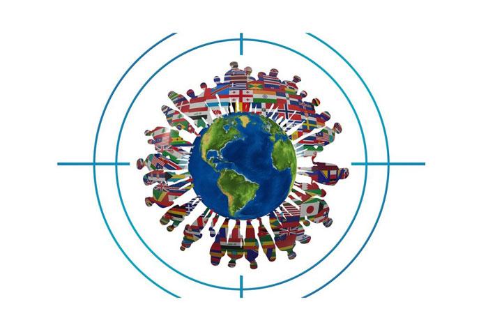 地球と世界の国旗