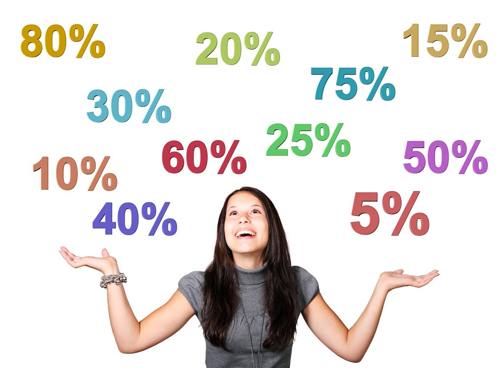 パーセントの数字と女性