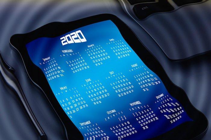 スマートフォンに表示されたカレンダー