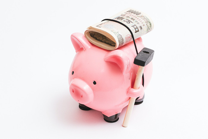 お金を背負った豚の貯金箱